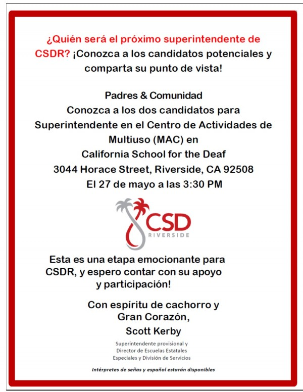 CSDR Flyer in Spanish