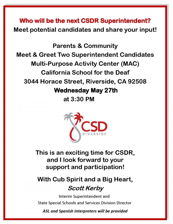 Supt Meet Greet - May 27