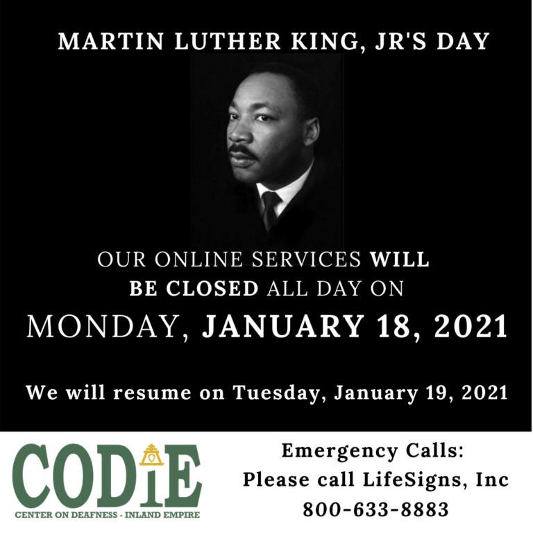 We are closed on MLK's Day