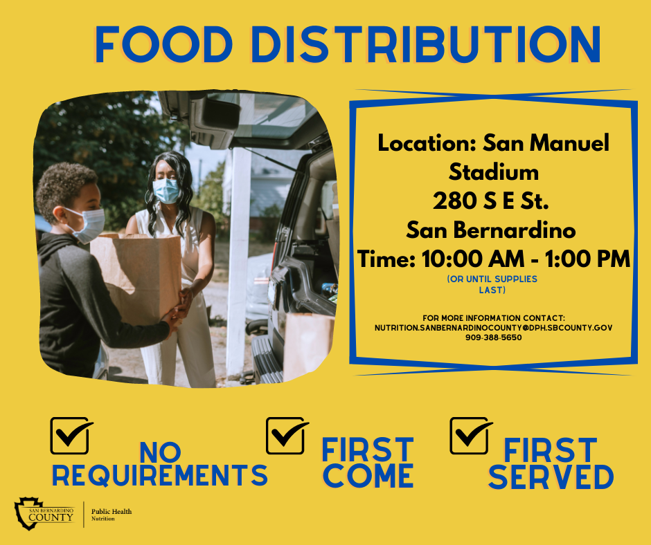 Save the Date! We are excited to collaborate with several community partners to host a free city-wide food distribution event on March 20, 2021. We aim to feed 1,000 families. See flyer for more details! https://wp.sbcounty.gov/.../food-distribution-drive-thru... #fooddrive #freeevent