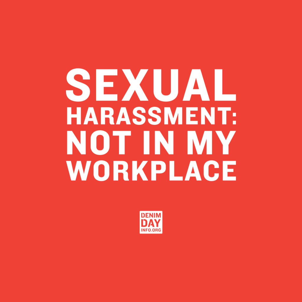 Red background. White uppercase fonts: SEXUAL HARASSMENT: NOT IN MY WORKPLACE