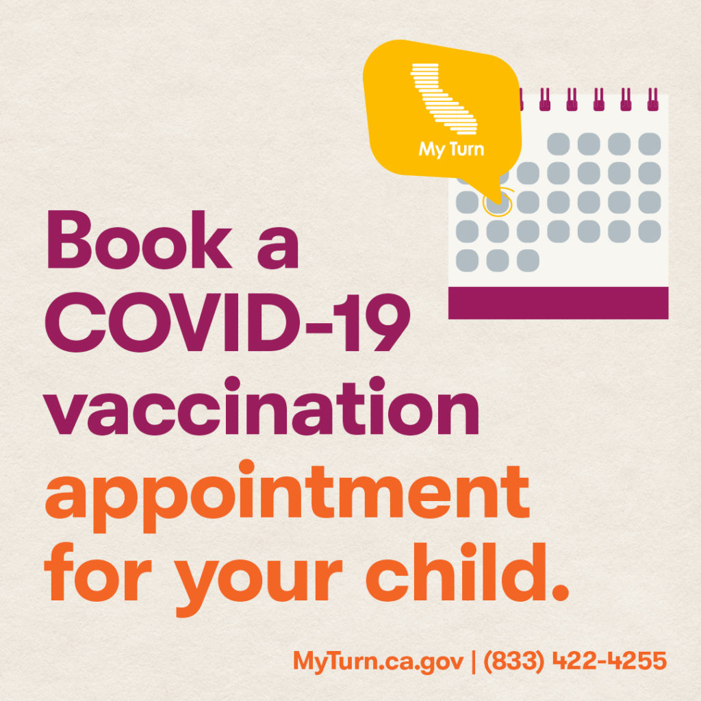 Young people ages 12+ are eligible to receive the #COVID19 vaccine, which is safe, effective, and free. Visit http://myturn.ca.gov or call (833) 422-4255 to make an appointment for your child today. #VaccinateAll58
