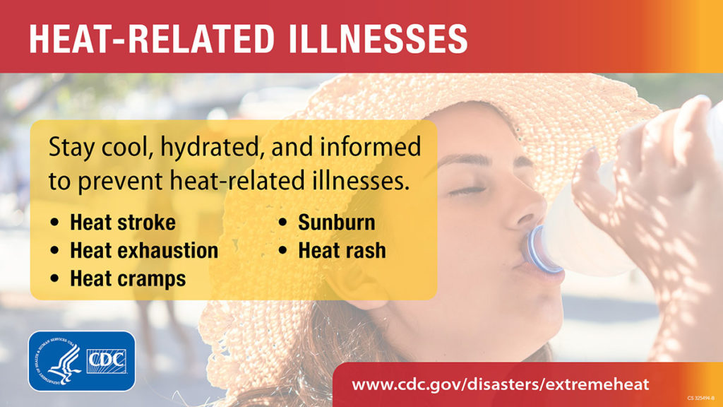 """Heat-related illnesses are preventable. Learn the symptoms and what to do if you or a loved one shows signs of having a heat-related illness. https://www.cdc.gov/disasters/extremeheat/warning.html [ID description for ALT IMAGE: Light overlay image of woman wearing sun hat and drinking water. At the top: red banner with white font: """"HEAT-RELATED ILLNESS"""". Next in yellow banner with black font: """"Stay cool, hydrated, and informed to prevent heat-related illnesses."""" Next in two column with bulleted list in bold font: Heat Stroke, Heat exhaustion, Heat cramps, Sunburn, Heat rash."""" Next at the bottom in red banner with white font: """"www.cdc.gov/disasters/extremeheat"""". On the bottom left is CDC logo in blue and white.]"""