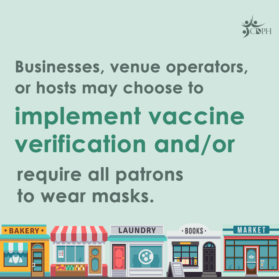 """Businesses, venue operators, or hosts can choose to implement vaccine verification and/or require all patrons to wear a mask (and this would not be a HIPAA violation). However, they cannot deny service to someone who chooses to wear a mask. Learn more about #BeyondTheBlueprint masking guidance: http://bit.ly/BeyondMasking [ID Description for ALT IMAGE: Light green background. Green fonts: """"Businesses, venue operators, or hosts can choose to implement vaccine verification and/or require all patrons to wear a mask"""". At the bottom of the post: graphic design of different stores on a block]"""