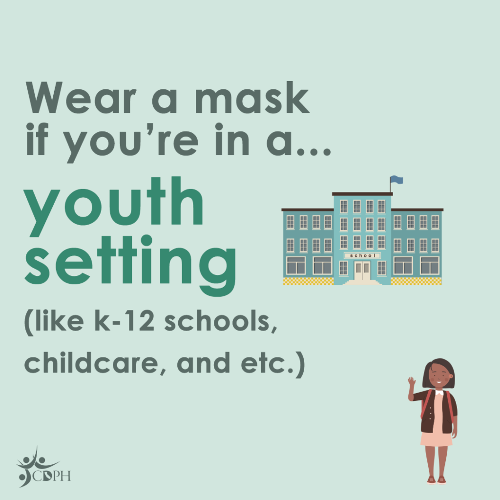 """Blue school on the right side. A black woman with medium length hair, brown jacket, pink dress, light brown backpack and red sandal waving hi at the bottom right. On the left; """"Wear a mask if you're in a... youth setting (like k-12 schools, childcare, and etc.)""""]"""