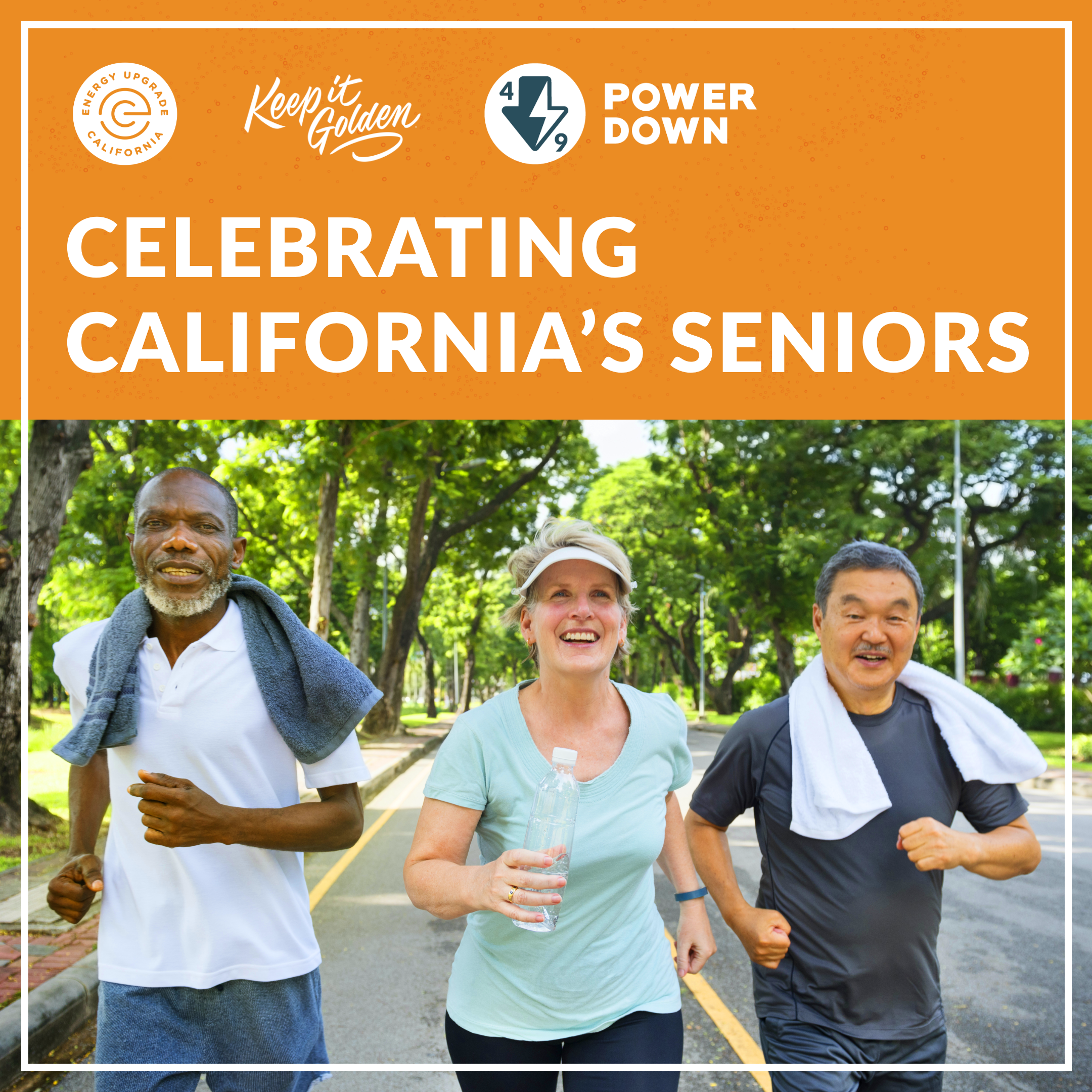 TOU: To all the seniors working to use more clean energy every day, thank you for leading by example and powering down from 4-9! #KeepItGolden https://www.energyupgradeca.org/the-movement/ #codie_riv [ID Description for ALT IMAGE: Outside background with trees lined back. Three people that look like seniors walking. On the left is a black person wearing white shirt with gray gym towel on the shoulder. In the center, a white person wearing sun visor and light green shirt, carrying bottle of water. On the right is an Asian person wearing dark gray shirt with white towel on the shoulder. ]