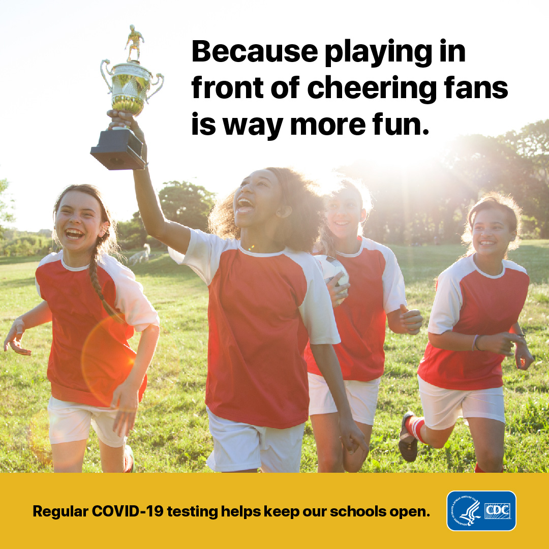 School spirit is better at school. Regular COVID-19 testing helps keep students on the field and friends and parents in the stands. Support COVID-19 testing at school. Learn more at cdc.gov/covid19-school-testing