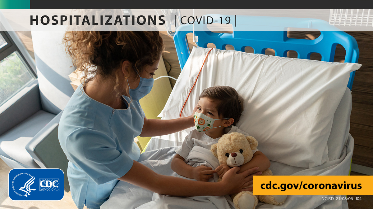 """Young children are at risk for severe #COVID19. COVID-NET data show that rates of COVID-19-associated hospitalizations in children under 5 tripled in the first half of July. Getting vaccinated can help prevent spreading COVID-19 to children. More: https://bit.ly/2ETd34F. [ID description for ALT IMAGE: Hosptial room in the background. Nurse wearing mask is comforting a child laying on hospital bed with mask on and holding a teddy bear. At the top with faded white banner and black font: """"HOSPITALIZATIONS [COVID-19]"""". Bottom right in yellow banner with black font: """"cdc.gov/coronavirus"""". Bottom left is an logo of CDC in blue and white]"""