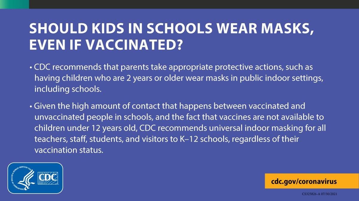 """[ID description for ALT IMAGE: Purple background with white fonts. """"SHOULD KIDS IN SCHOOLS WEAR MASKS, EVEN IF VACCINATED?"""" Next bulleted paragraph: """"CDC reccomends that parents take appropriate protective actions, such as having children who are 2 years or older wear masks in public indoor settings, including schools."""" Next bulleted paragraph: """"Given the high amount of contact that happens between vaccinated and unvaccinated people in schools, and the fact that vaccines are not available to children under 12 years old, CDC recommends universal indoor masking for all teachers, staff, students, and visitors to K-12 schools, regardless of their vaccination status."""" Bottom left is CDC logo in blue and white. Bottom right is yellow banner with black font: cdc.gov/coronavirus.]"""