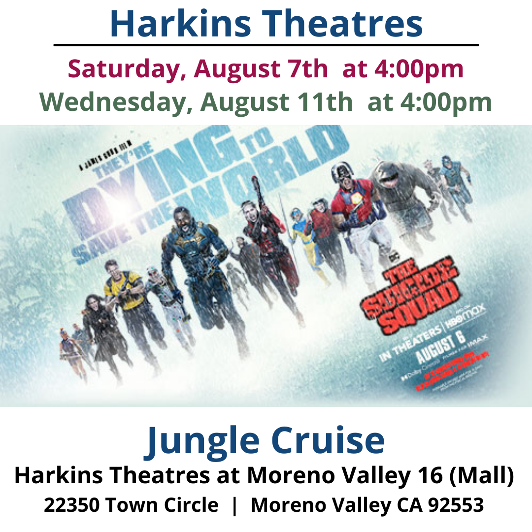 """This week's Open Caption Feature: The Suicide Squad See it at select Harkins Theatres this Saturday, August 7 and Wednesday, August 11 at 4pm."""" """"Assemble a team of the world's most dangerous, incarcerated Super Villains, provide them with the most powerful arsenal at the government's disposal, and send them off on a mission to defeat an enigmatic, insuperable entity. U.S. intelligence officer Amanda Waller has determined only a secretly convened group of disparate, despicable individuals with next to nothing to lose will do. However, once they realize they weren't picked to succeed but chosen for their patent culpability when they inevitably fail, will the Suicide Squad resolve to die trying, or decide it's every man for himself? https://www.harkins.com/Open-Caption https://www.harkins.com/movies/open-caption-the-suicide-squad-88207-4 #HarkinsTheatres #opencaption #opencaptionmovies #codie_riv [ID Description for ALT IMAGE: White background. """"Harkins Theatres"""". Next is a black border Next; """"Saturday, August 7th at 4pm"""". Next line: """"Wednesday, August 11th at 4pm"""". Next shows The Suicide Squad running with snowy background. Next: """"The Suicide Squad"""" Next: """"Harkins Theatres at Moreno Valley 16 (Mall)"""". Next in two columns: 22350 Town Cir., Moreno Valley, CA 92553""""]"""