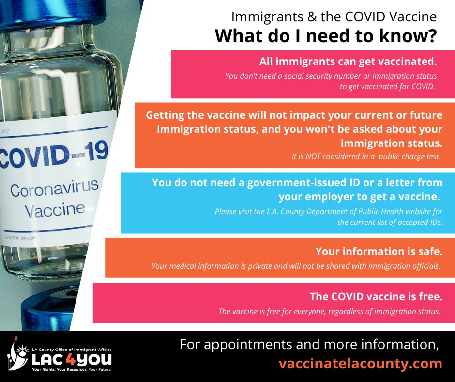 All immigrants can get the free COVID-19 vaccine. Getting vaccinated will not impact your current or future immigration status, and you will not be asked about your immigration status. For appointments and more info, visit: http://VaccinateLACounty.com