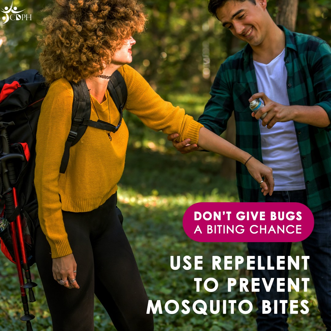 """Don't give bugs a biting chance! Insect repellent registered by the #EPA to help prevent mosquito bites is safe to apply on your skin. EPA-registered repellent works to keep bugs from finding and biting you. Learn more: http://bit.ly/MosquitoRepellentCDPH [ID Description for ALT IMAGE: Nature Outdoors background. Two people standing next to each other. One person wearing green/black patterned long sleeve shirt spraying mosquito repellent on other person wearing orange sweatshirt with backpack. Pink circle banner with white font: """"DON'T GIVE BUGS A BITING CHANCE"""" White uppercase font: """"USE REPELLENT TO PREVENT MOSQUITO BITES""""]"""