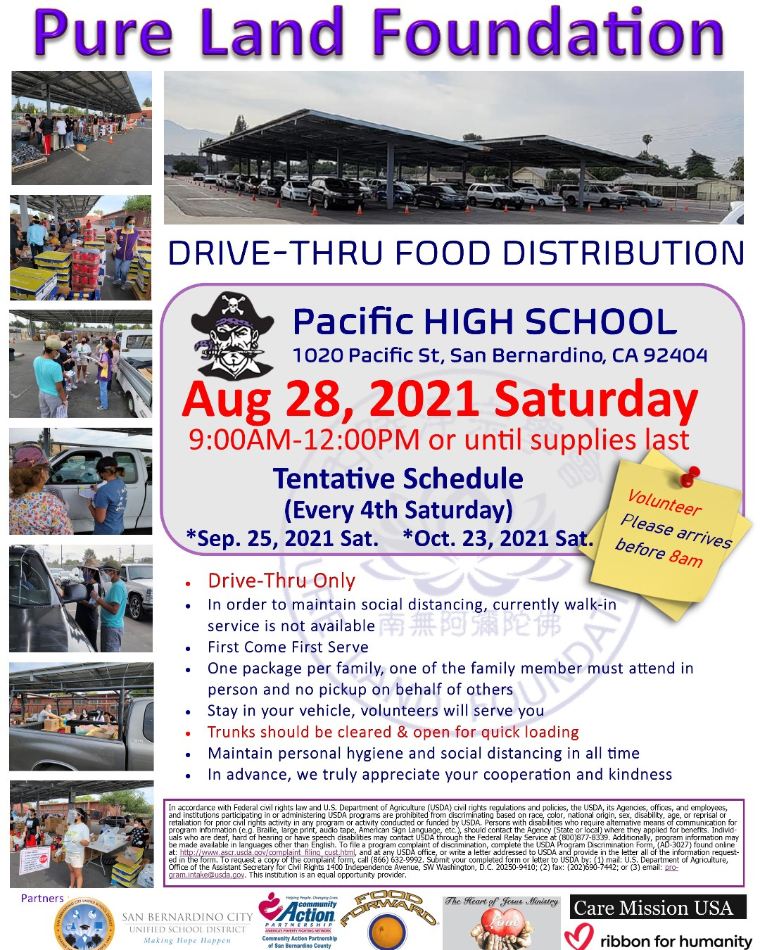 Pure Land Foundation will be hosting their next Drive-Thru Food Distribution on Saturday, August 28 at Pacific High School from 9 a.m. to 12 p.m. (or until supplies last). Stop by to get free groceries delivered to your vehicle.