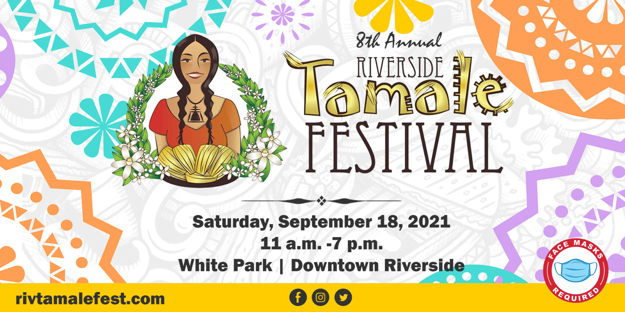 City of Riverside,CA @riversidecagov · 2h We know it's #TacoTuesday and all, but we thought we'd let you know that the @RivTamaleFest is back at White Park (3936 Chestnut St, Riverside, CA 92501) - Saturday, September 18th from 11am - 7pm. Get your tickets now at: http://rivtamalefest.com #ILoveRiverside