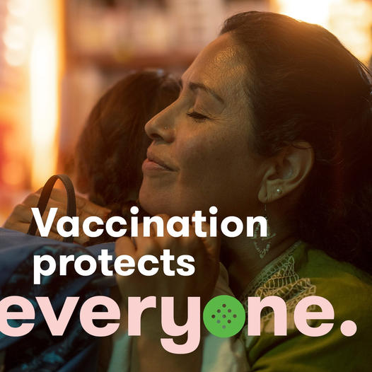The COVID-19 vaccine not only protects you, but also your community—especially young children and the immunocompromised. #VaccinateALL58 #GetToImmunity #CaliforniaForAll [Image Description for ALT IMAGE: Blurry background. A Mother hugging a child who is wearing a backpack.]