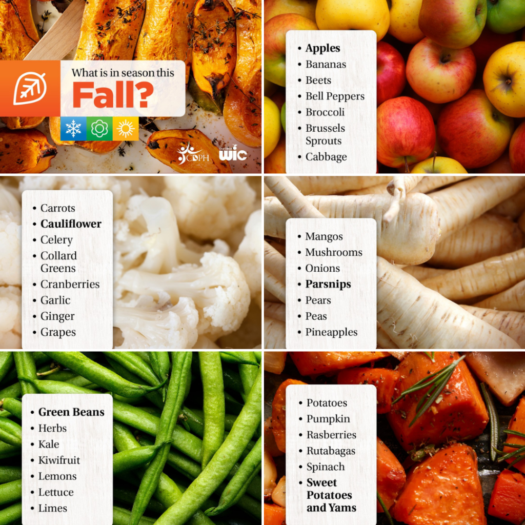 @CAPublicHealth Find out what seasonal fruits and vegetables your family can enjoy as the weather gets cooler this fall! You can get many locally grown fruits and vegetables at WIC-authorized farmers' markets. https://bit.ly/3CAcrcp