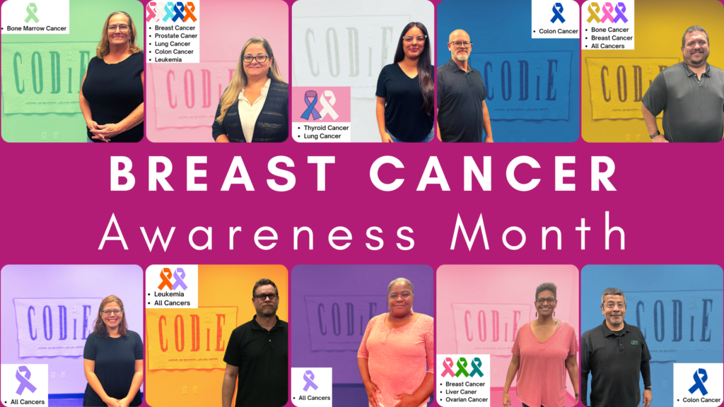 """This October is Breast Cancer Awareness Month. Breast Cancer is the second most common cancer among women and people in the United States. Men and people of other genders also get it. It is also the second leading cause of cancer death in women. We are raising the awareness of Breast Cancer by sharing information and resources at https://bit.ly/3BzEXuD #NationalBreastCancerAwareness #EarlyDetectionMatters [ID Description for ALT Image: Dark Pink background. In the center """"BREAST CANCER AWARENESS MONTH"""". (All staff support the awareness of Breast Cancer and different types of cancer that have an impact on their lives) From top row (left to right): Lisa in green background also supporting the awareness of Bone Marrow Cancer. Next: Gloria in pink background supporting Breast Cancer, also, Prostate Cancer, Lung Cancer, Colon Cancer and Leukemia. Next, Claudia in white background also supporting Thyroid Cancer, and Lung Cancer. Next, Kenton in blue background also supporting Colon Cancer. Next, Richard in yellow background also supporting Bone Cancer, Breast Cancer and All Cancers Bottom Row from left to right: Carmen in purple background also supporting All Cancers. Next, Jonathan in orange background also supporting Leukemia and All Cancers. Next, Deb in dark purple background also supporting All Cancers. Next, Maisha in pink background also supporting Liver Cancer and Ovarian Cancer. Next, Guy in blue background also supporting Colon Cancer]"""