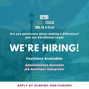 Are you passionate about making a difference? Join our #Gladiator team! Check the following job openings and share away. Administrative Assistant Job Developer Interpreter Interested to apply? Go to http://gladinc.org/careers